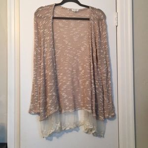 Sweaters - Tan sweater with lace trim